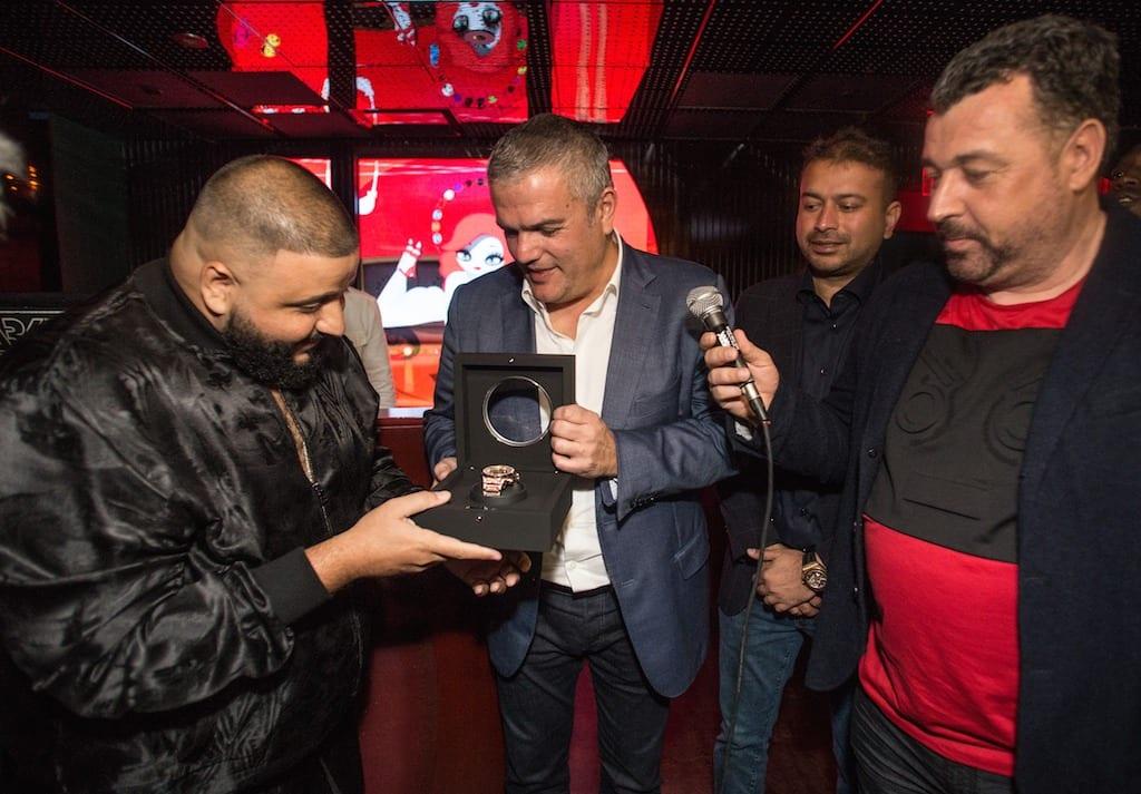 Ricardo Guadalupe and Rick de la Croix presenting Timepiece to DJ Khaled