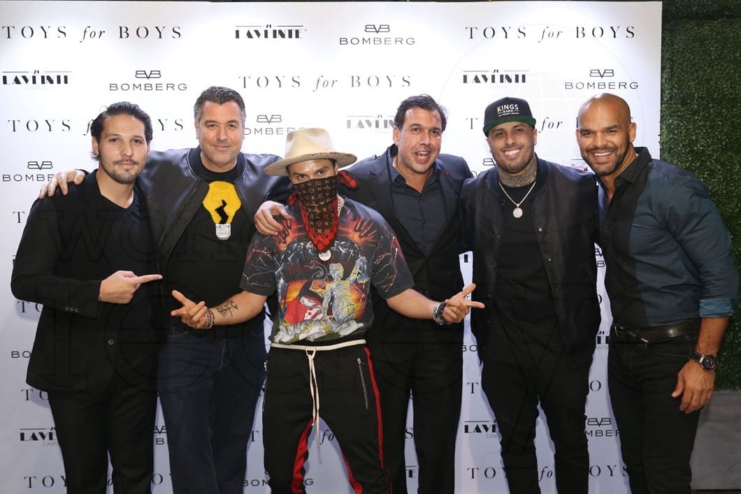 Nicky Jam, Ricke De La Croix and company at the Toys for Boys release party.
